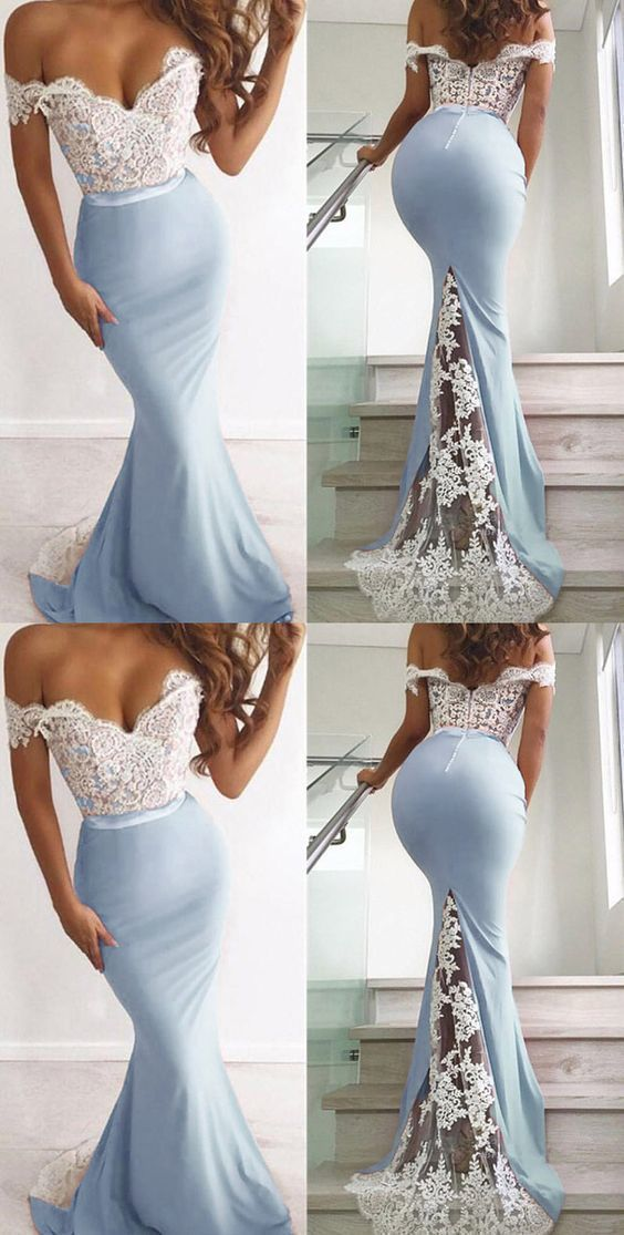Unique Elegant Lace Top Mermaid Prom Dress Long Off the Shoulder Sexy Party