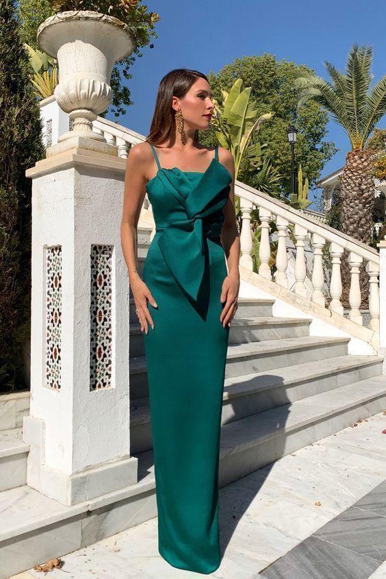Elegant Dresses, Green long evening dress in dark grenn ,in green long prom