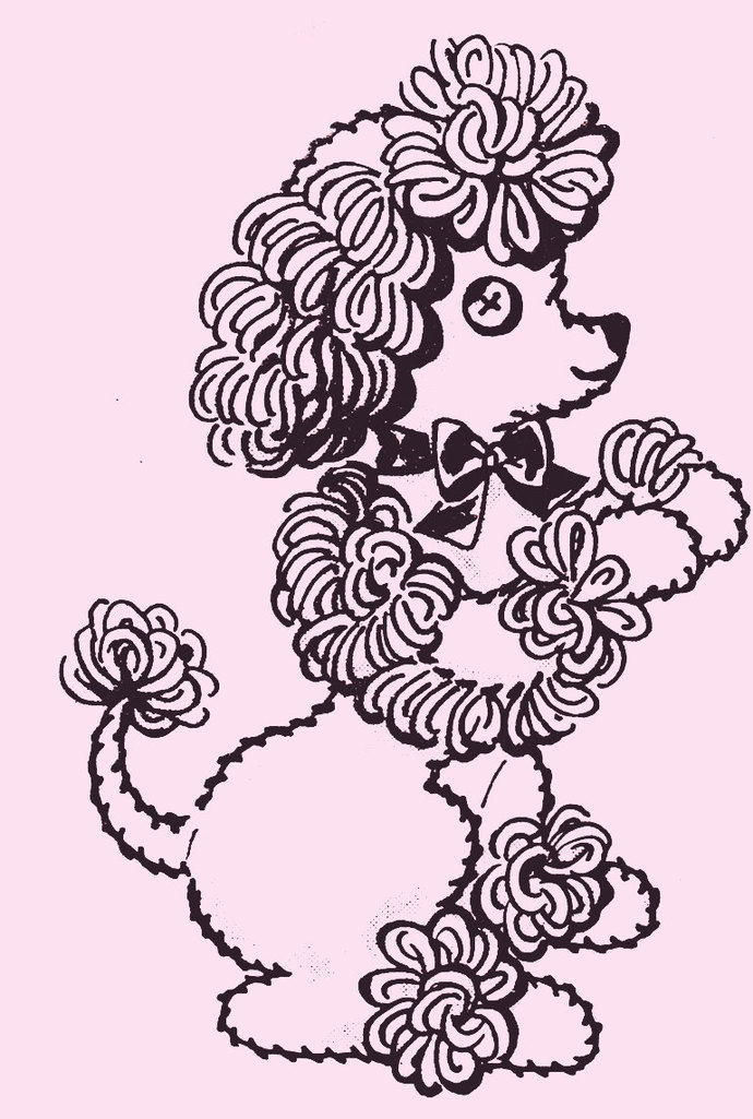 Instant PDF Digital Download Vintage Sewing & Crochet Pattern Cute French Poodle