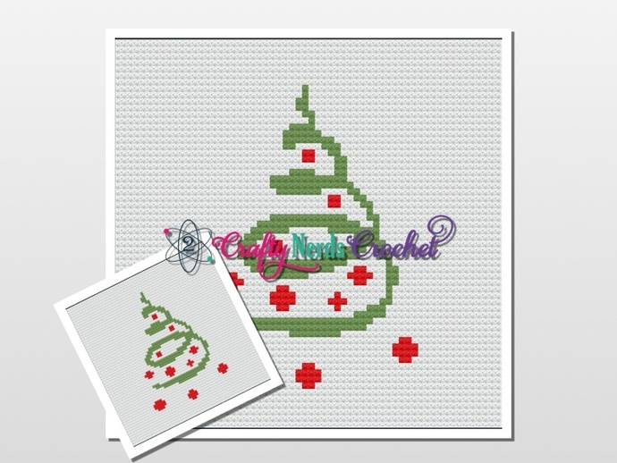 Christmas Tree Pattern Graph With Single Crochet and C2C Written