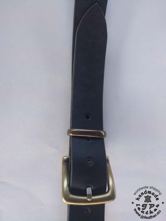Handmade leather belt 38mm (1.5 In) / 3.5-4mm - black - Old brass buckle - metal