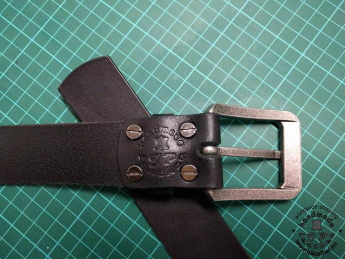 Handmade leather belt 38mm (1.5 In) / 3.5-4mm - black - Old silver buckle  -