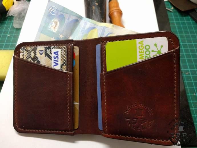 Simple Full grain vegetable tanned (vegtan) leather 4 slots card wallet