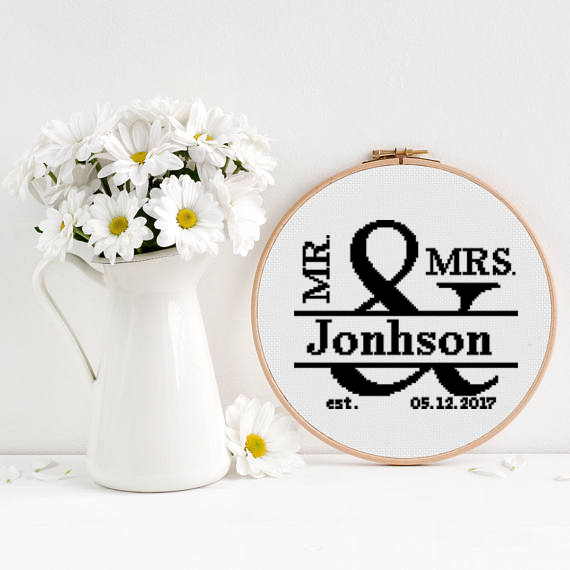 Wedding sampler cross stitch Mr & Mrs birds modern love anniversary easy simple
