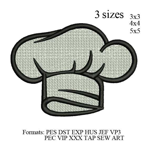 Chef Hat filled embroidery design,Kitchen hat Embroidery Machine ,hat Embroidery