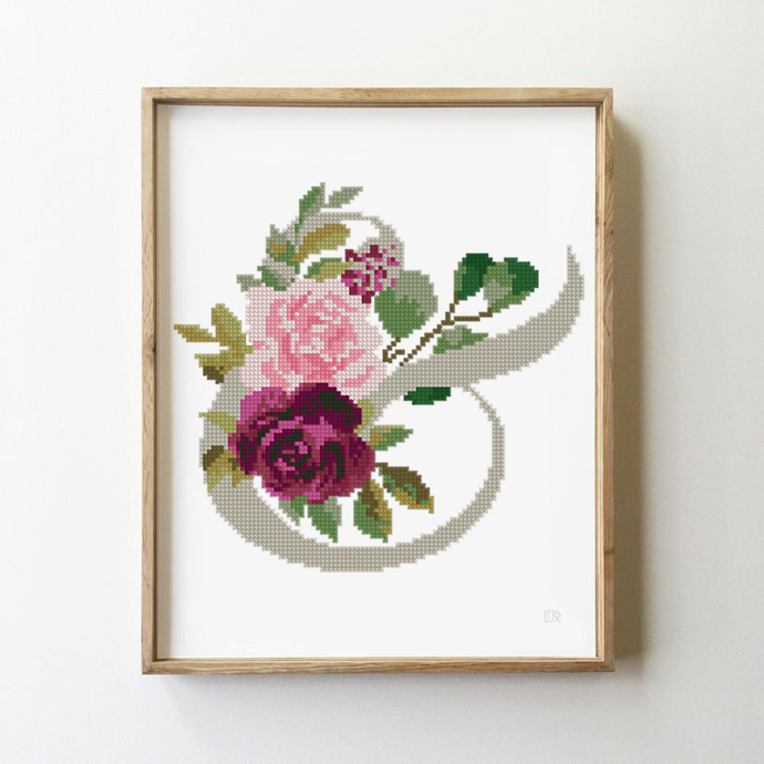 Floral counted wedding cross stitch record geometric peony floral flowers