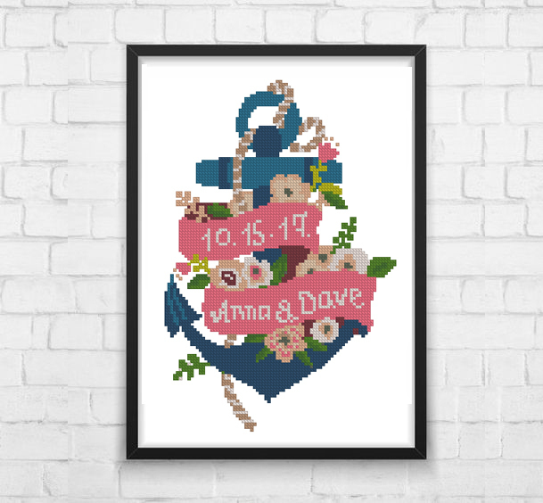 Custom name Anchor Floral Wedding Counted Chart, Ahoy, Flowers Modern Home Decor