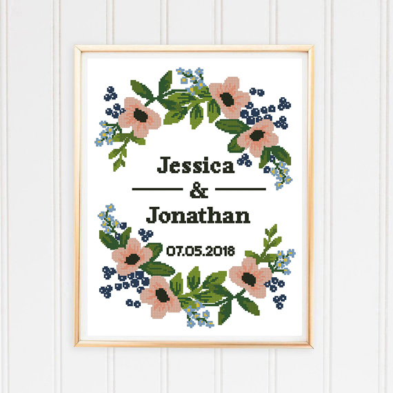 Floral wreath counted wedding cross stitch record leaf peony floral flowers