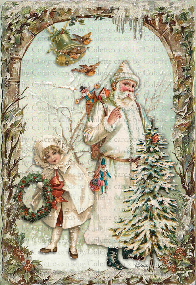 Santa Claus in White Digital Collage Greeting Card2524