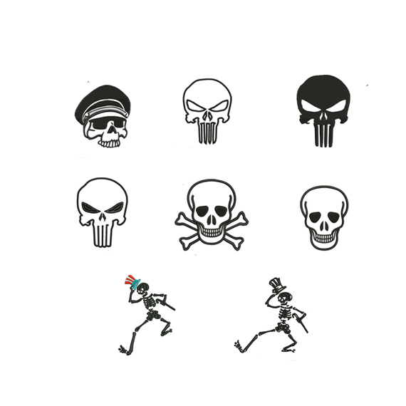 Skull Set embroidery design,Skulls Set embroidery pattern No 1019 ... 3 sizes