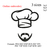 Chef Hat chef cap with mustache and beard embroidery design,Kitchen hat