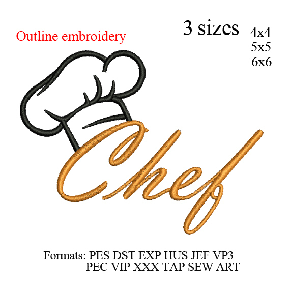 Chef Hat outline with text kitchen chef embroidery design,Kitchen hat Embroidery