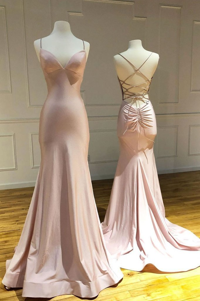 PINK SWEETHEART SATIN LONG MERMAID LONG PROM DRESS PINK EVENING DRESS, CD524