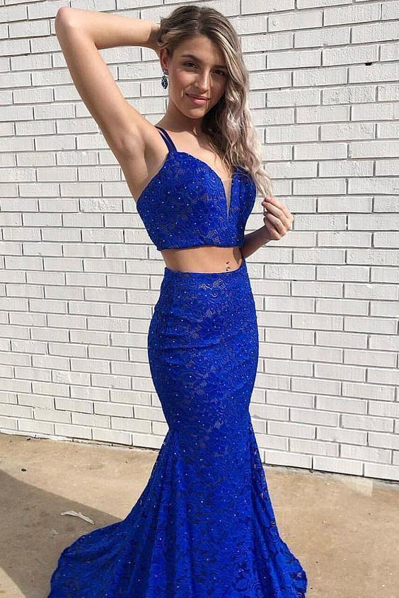 Beautiful Charming Royal Blue Two Piece Mermaid Beaded Long Prom Dress,Sexy