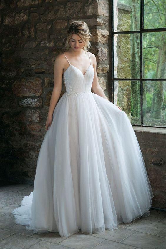 Princess Spaghetti Straps White Wedding Dress, Sexy A Line Bridal Gown