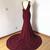 Burgundy Chiffon Backless Sweep Train Meramid Prom Dress, Evening Dress With