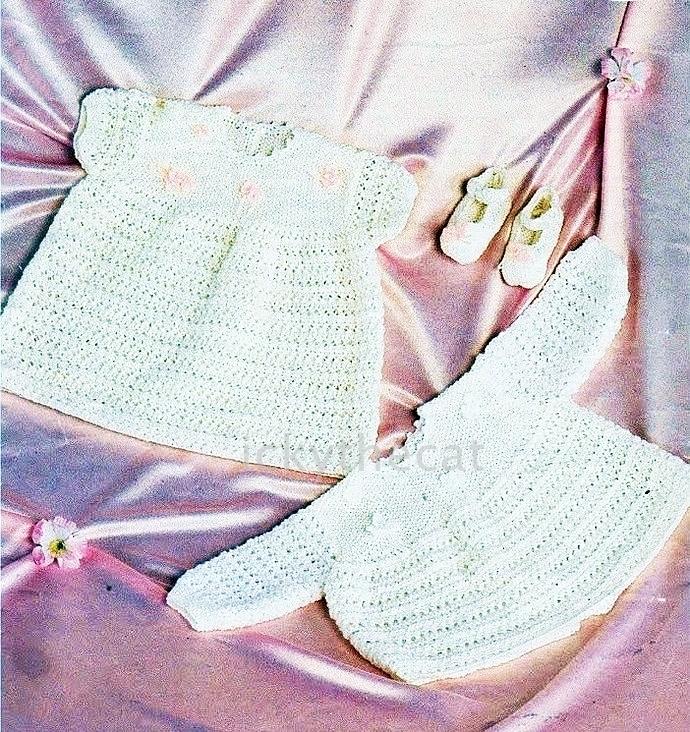 PDF Digital Download Vintage Row by Row Knitting Pattern Pretty Baby Dress Angel