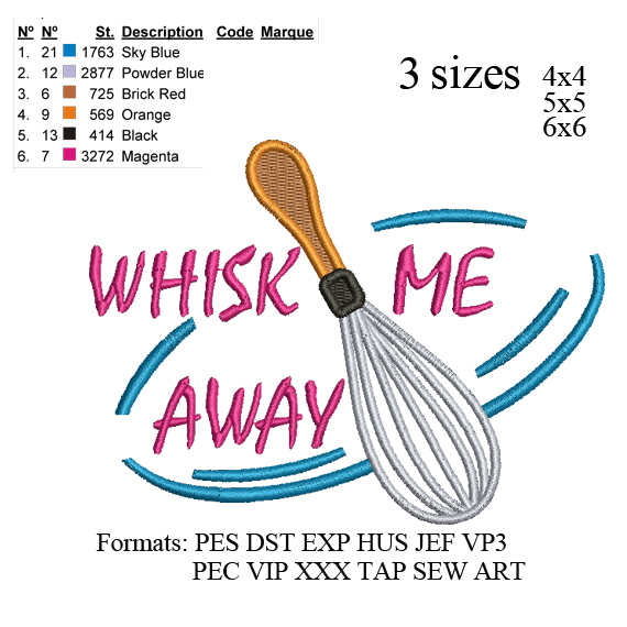 Wire whisk filled Wisk Me Away filled embroidery design,Wire whisk filled