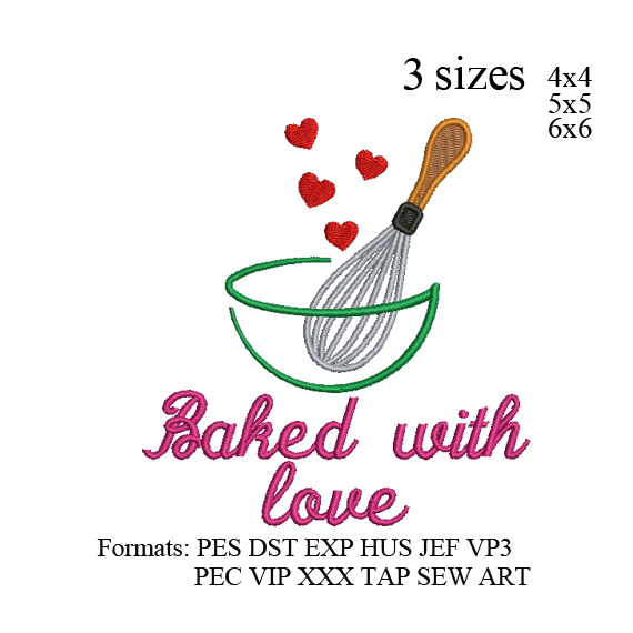 Baked With Love embroidery Baked With Love cooking embroidery design,embroidery