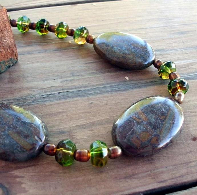 Sparkling Green and Bronze Beads with Natural Jasper Necklace