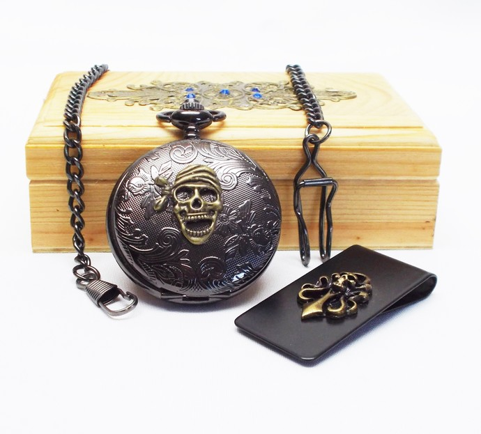 Pocket Watch and Money Clip Artisan Pirate Skull Design Set in Wood Gift Box