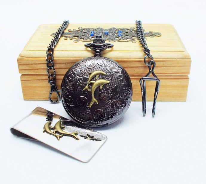 Pocket Watch and Money Clip Artisan Dolphin Design Set in Wood Gift Box Black