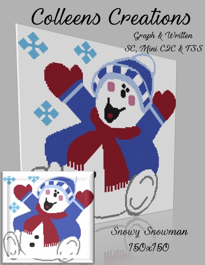 Snowy Snowman Crochet Written and Graph Design