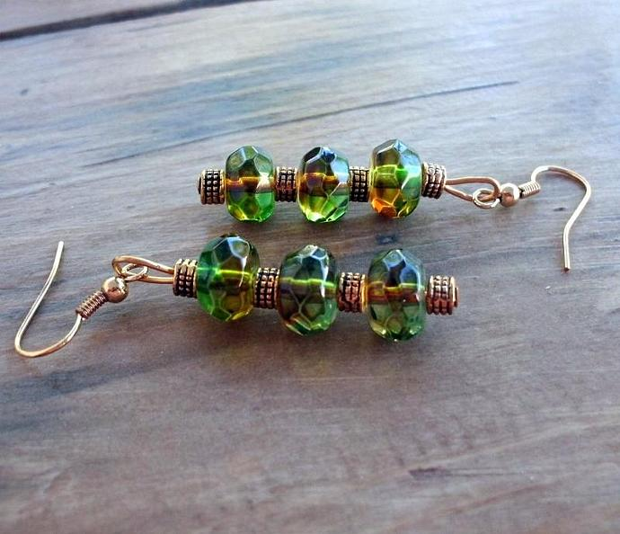 Green and Bronze Earrings on French Hooks