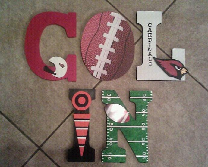 Custom Football Wooden Letters (Phx Cardinals)