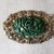 Vintage Victorian/Edwardian Ornate Gilt Brass Green Bakelite Brooch-Steampunk
