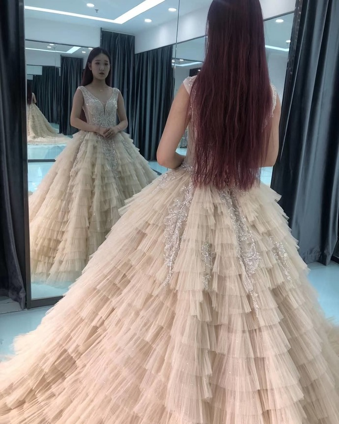 Champagne Prom Dress,Tulle Prom Gown,Appliques Prom Dress,V-Neck Wedding Gown