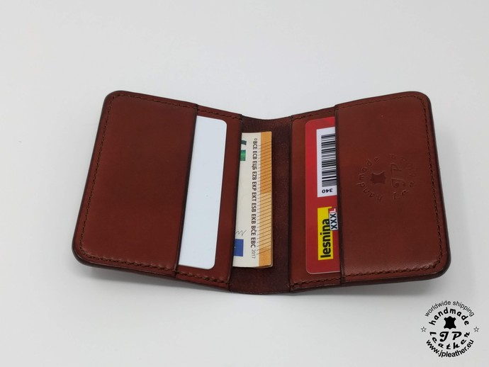 Handmade Bifold leather cardholder - brown, black or red