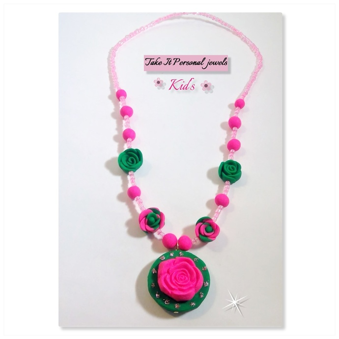 Children's Pink Flower Pendant Necklace Holiday Gift