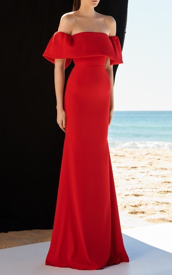 Off-The-Shoulder Satin red Gown