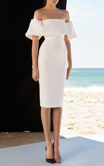 White Off Shoulder Mesh prom Dress
