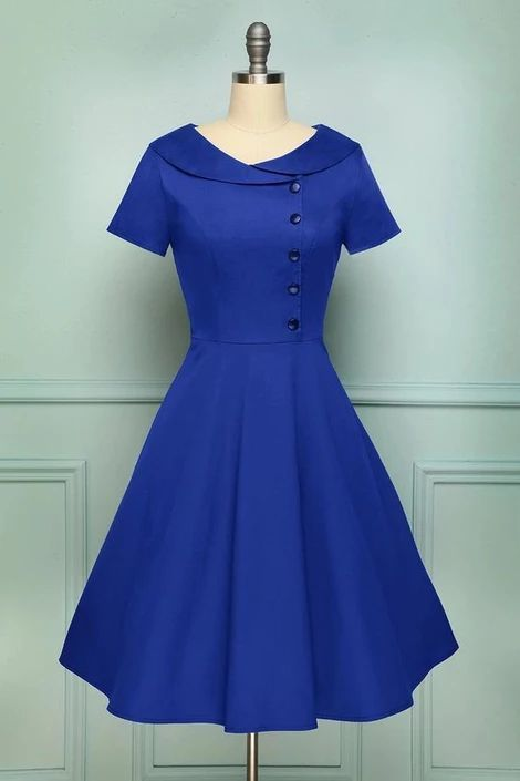 Blue Collared A Line Vintage Button Dress with Sleeves, Short Homecoming Dress