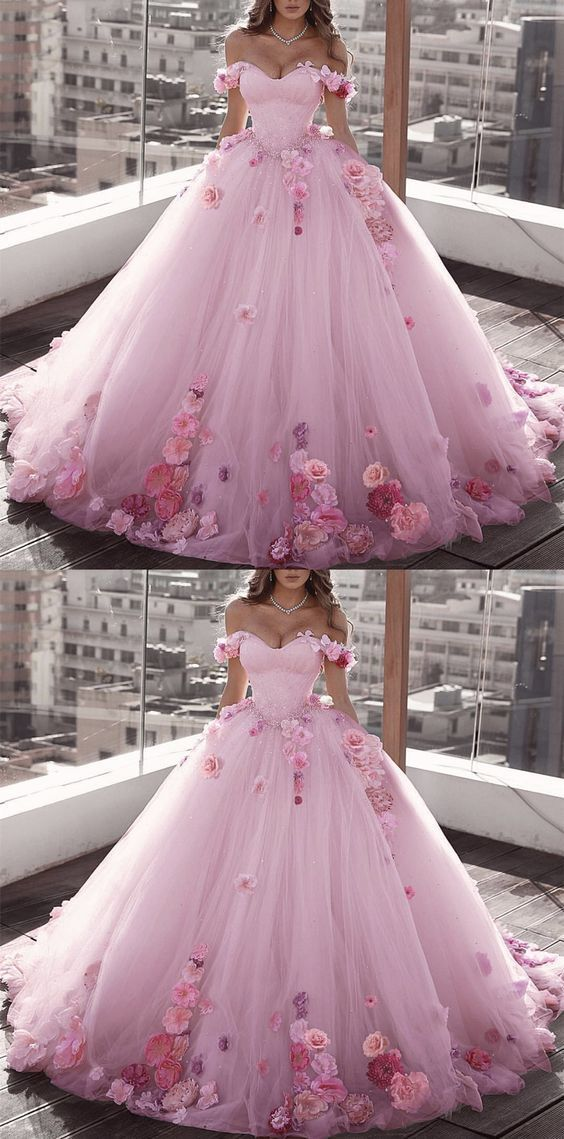 Blush Pink Tulle Off Shoulder Ball Gown Wedding Dresses Floral Flowers Beaded