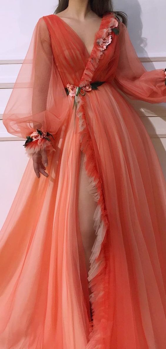 V neck Long Sleeve Prom Dresses Orange Unique Long Evening Dress Floral Elegant