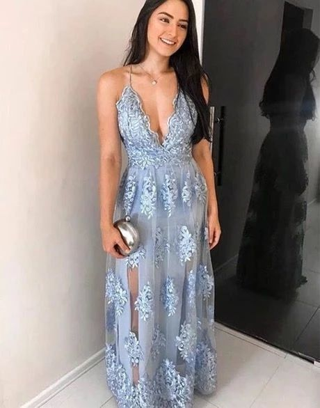 Blue Lace Deep V Neck Long Prom Dress, Lace Evening Dress