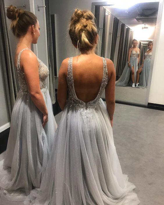 Gorgeous Gray V Neck Beaded Sequins Prom Dress,Backless Formal Dress,Gray Tulle