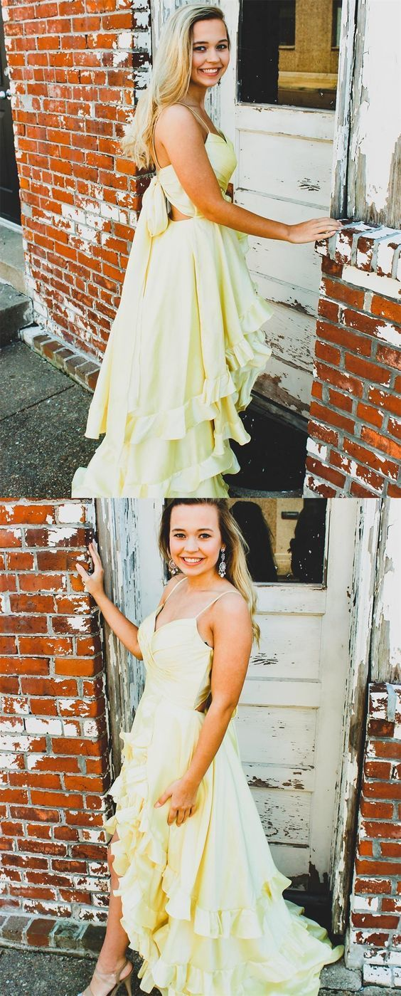 Princess A-Line Yellow Formal Dress with ruched bodice and layered ruffle front