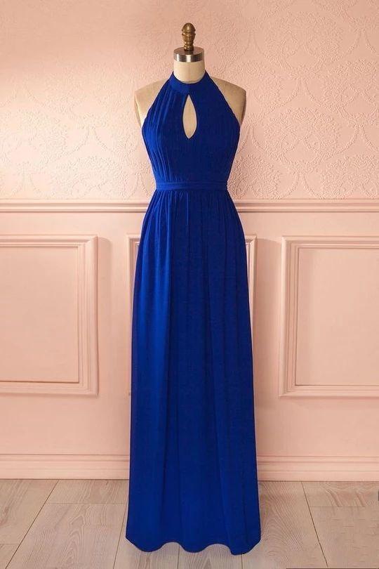 Royal Blue Long Prom Dresses Simple Evening Dresses A-Line Formal Dresses