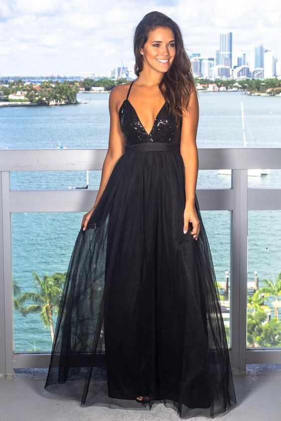 A-Line Deep V-Neck Backless Black Prom Dress with sequin