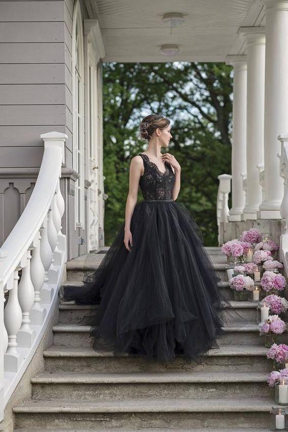 Black V Neck Tulle Prom Dress