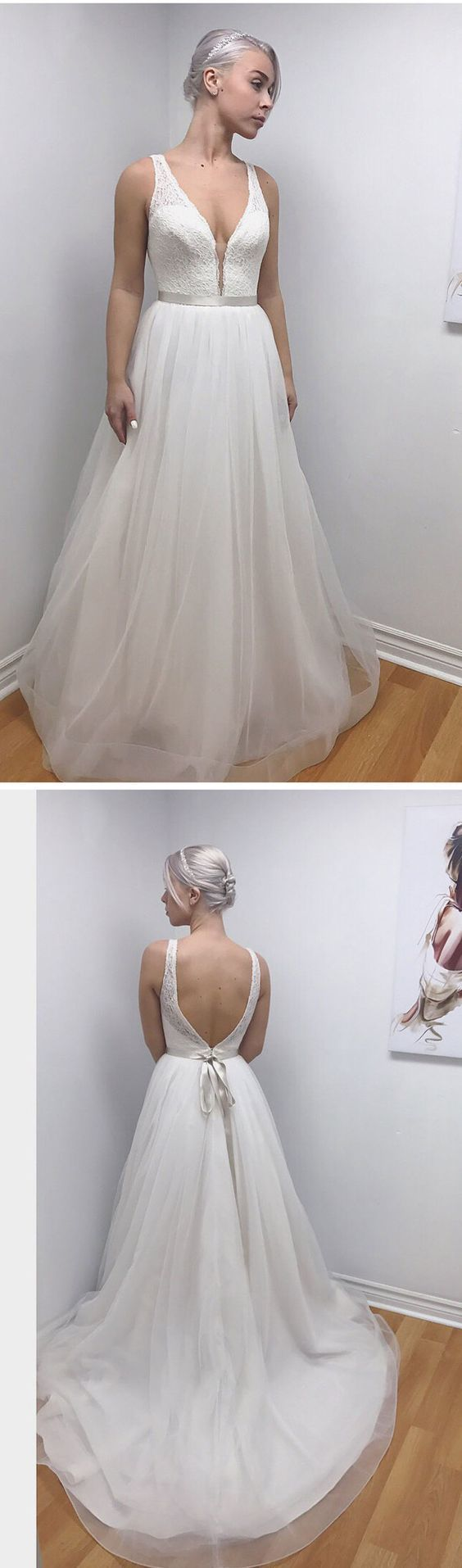 lace and tulle, long white wedding dresses