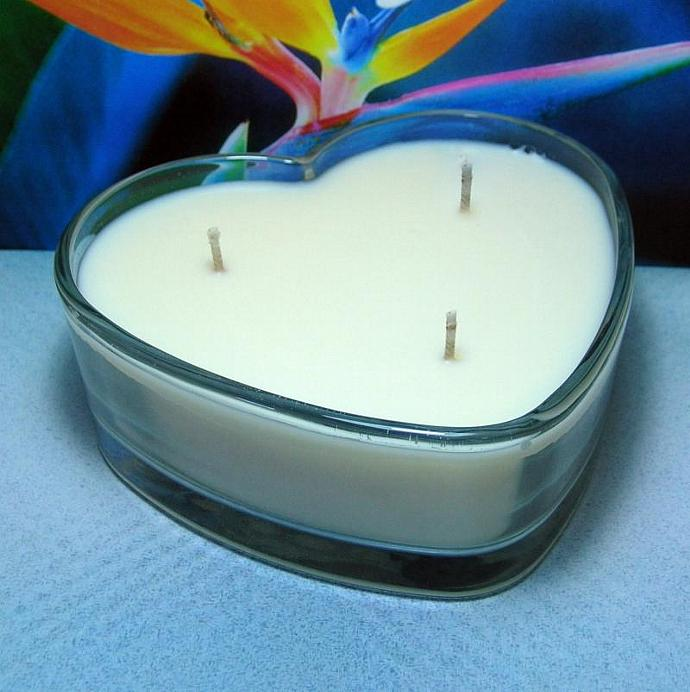 Bird of Paradise PURE SOY Heart  Container Candle 16 oz.