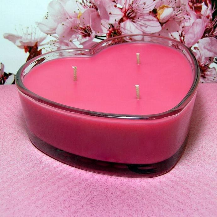 Cherry Blossom PURE SOY Heart Container Candle 16 oz.