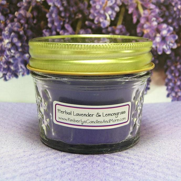 Herbal Lavender and Lemongrass PURE SOY 4 oz. Jelly Jar Candle