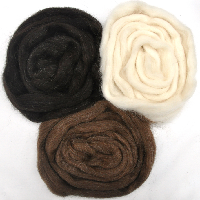 Icelandic Wool Roving Color Sampler - Natural Color Wool
