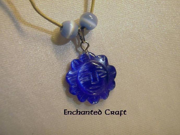 Lovely BLUE SUN cat's eye necklace